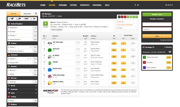 RaceBets Desktop Design