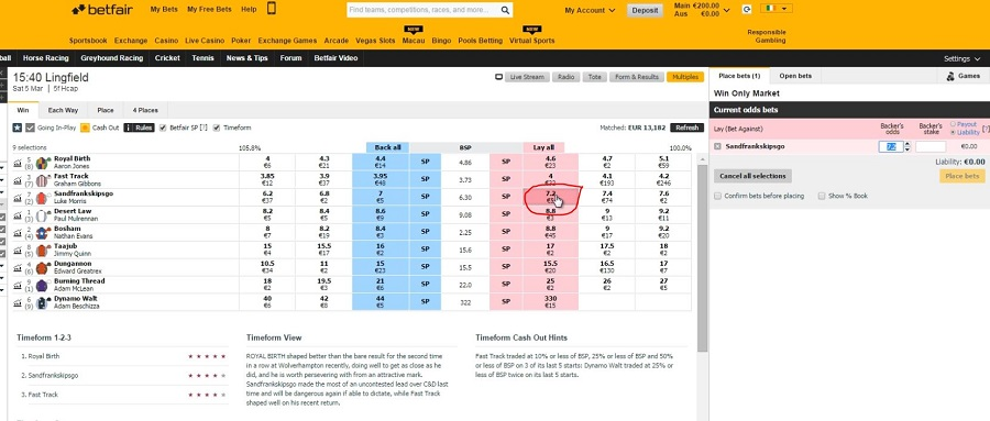 select horse you want to lay on betfair