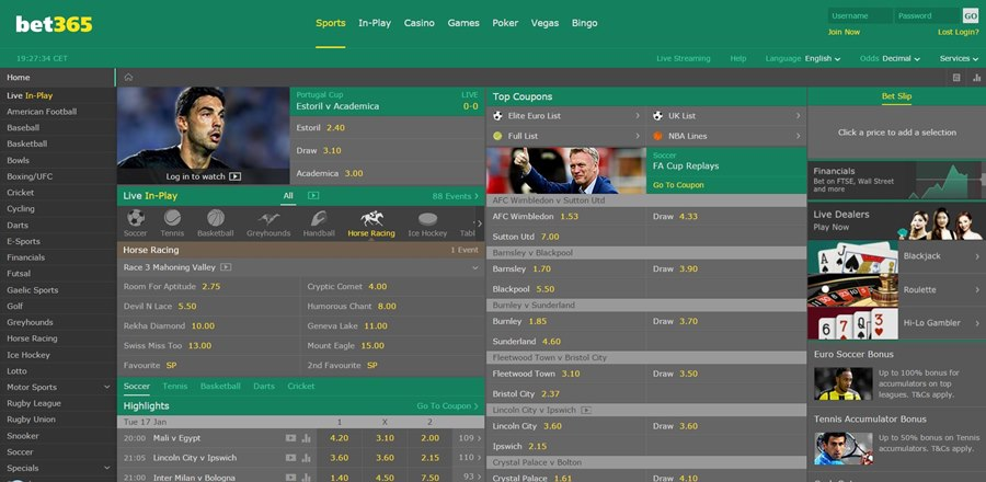 bet365 homepage design 2017