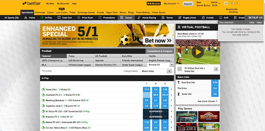 football betting at betfair sportsbook review