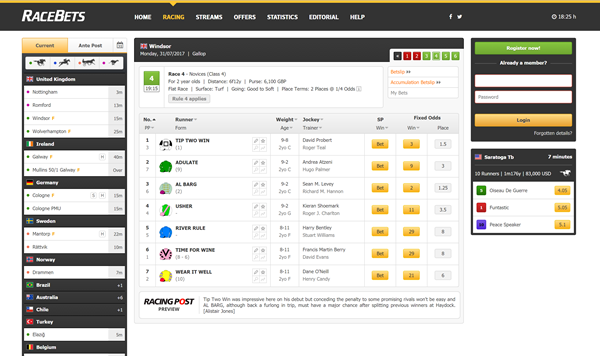 RaceBets Desktop Design