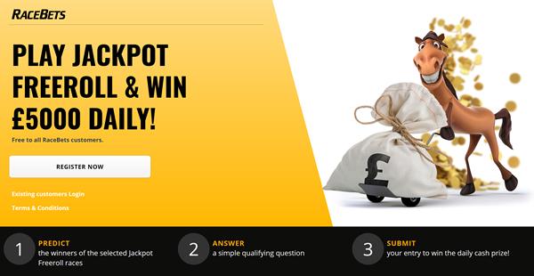 racebets jackpot freeroll promotion
