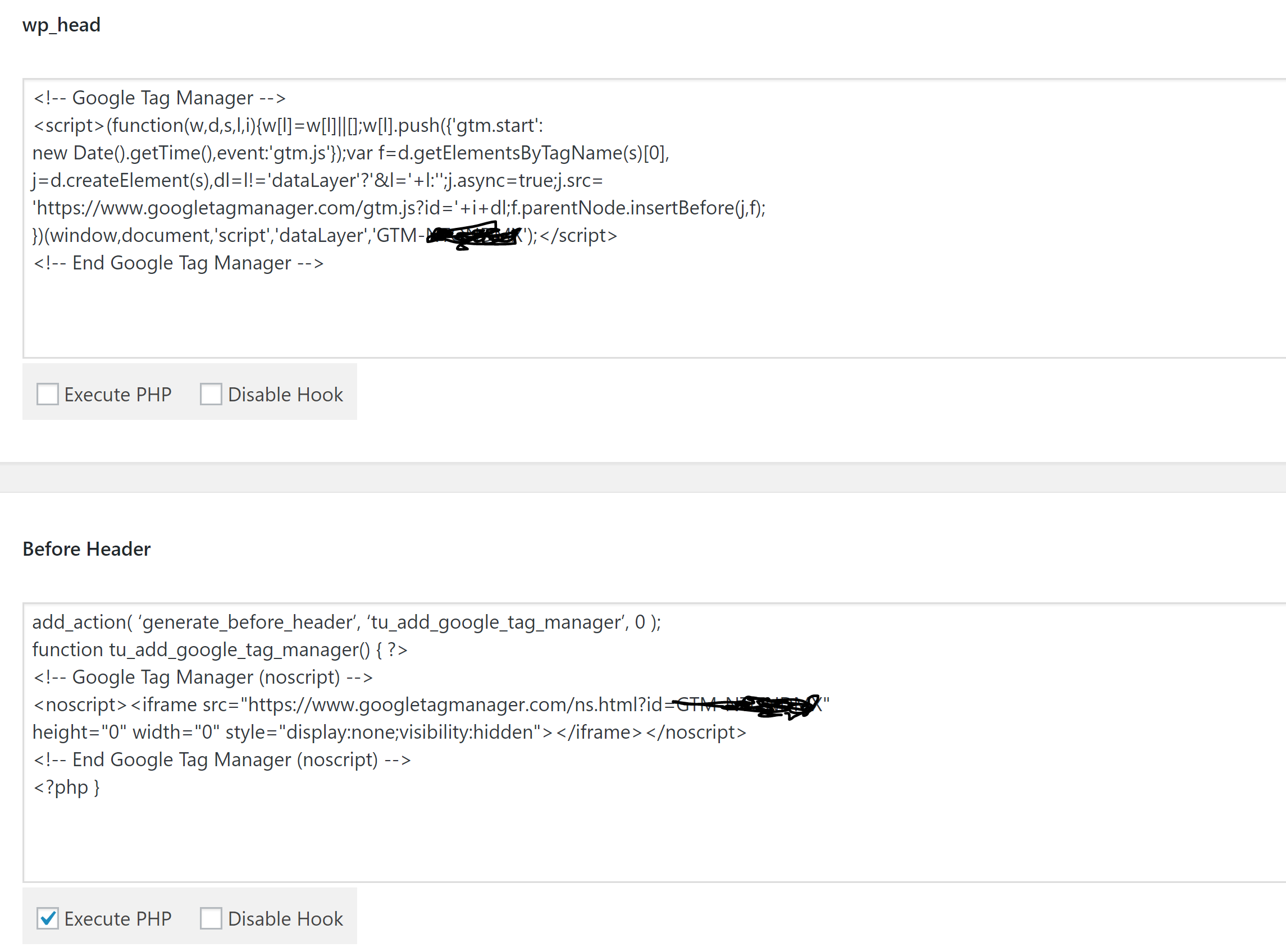 google tag manager code in hooks section