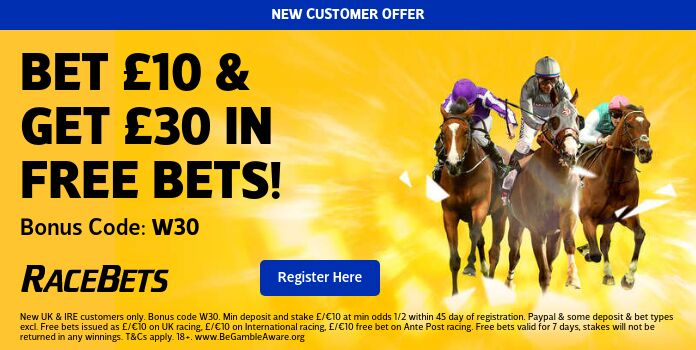 Racebets new welcome offer, bet 10 get 3 x 10 free bets