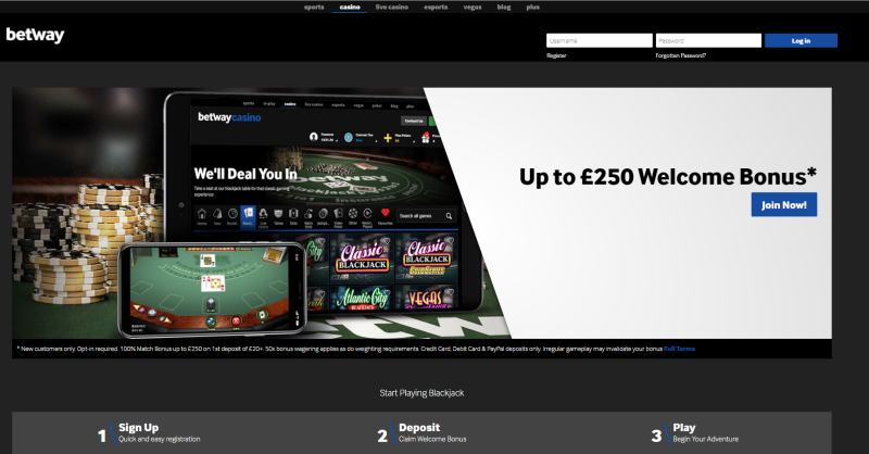betway casino offer 800