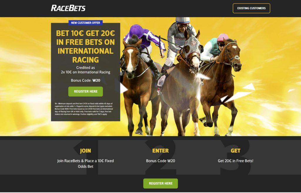 RaceBets 2020 Welcome offer